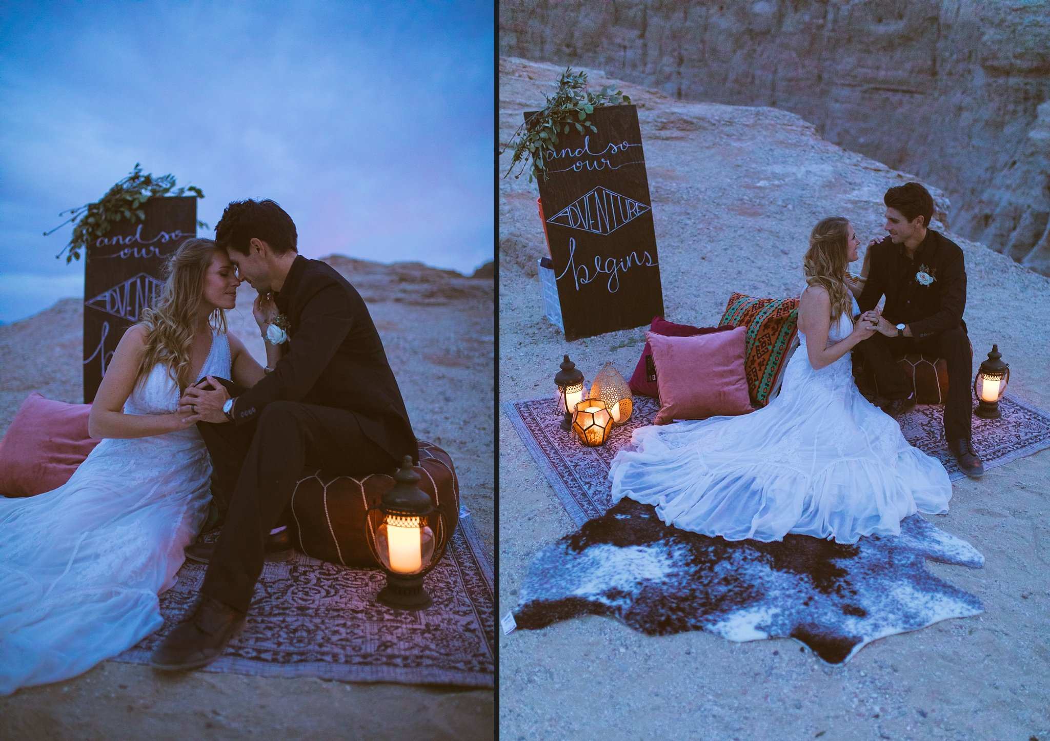 couple eloping in the desert